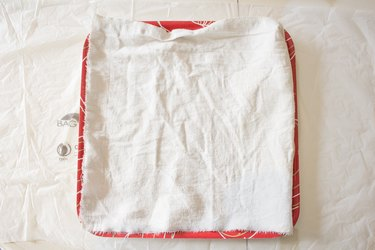 Cloth in shallow dish