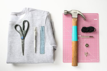 Supplies for DIY lace-up sweatshirt