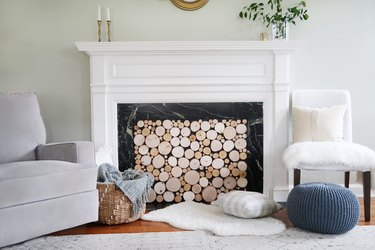 Faux stacked log fireplace cover
