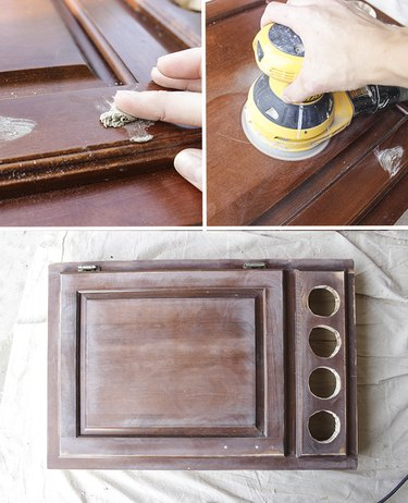 Fill holes with wood filler and sand entire desk.