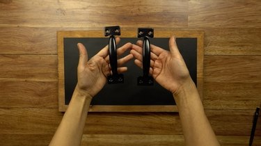 Front-mounting cabinet pulls for DIY chalkboard serving tray.