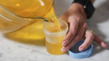 Pouring Jello into specimen cup