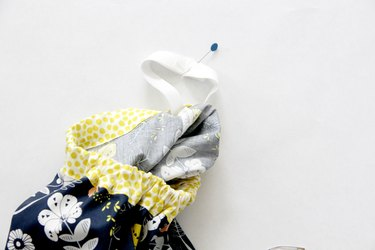 Pin and sew elastic ends together