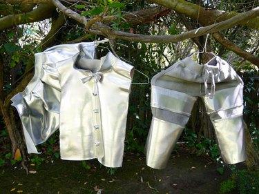 vinyl costume pieces spray painted silver