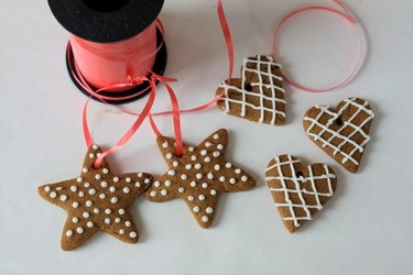 Completed gingerbread ornaments