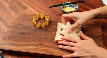 cutting shape out of bread
