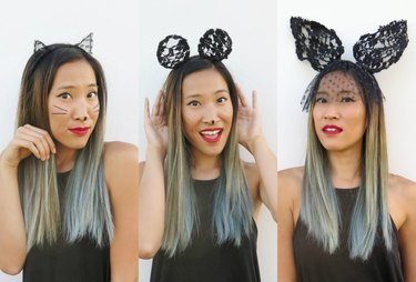 Wearing the animal lace ears.