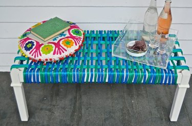Blue, green and teal nylon woven bench