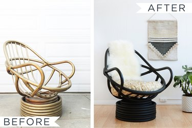 Before and after image of painted rattan chair