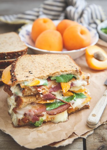 Apricot grilled cheese with bacon and brie
