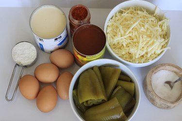 Ingredients for chile relleno casserole.