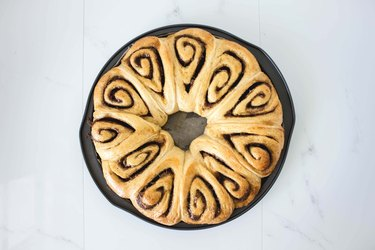 Cinnamon Roll Wreath baked until golden.
