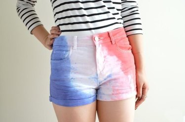 Red, white and blue tie dye shorts.