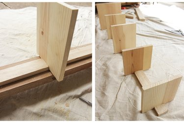 Shelves attached onto spine.