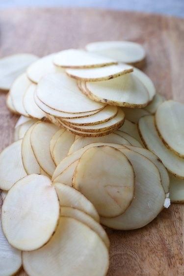 Pile of potato slices
