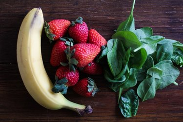 banana, strawberries, and spinach