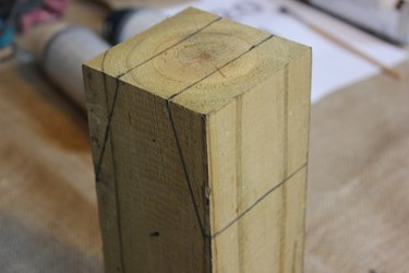 Draw two wedge shapes to be cut out