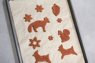 Baked ornaments on cookie sheet