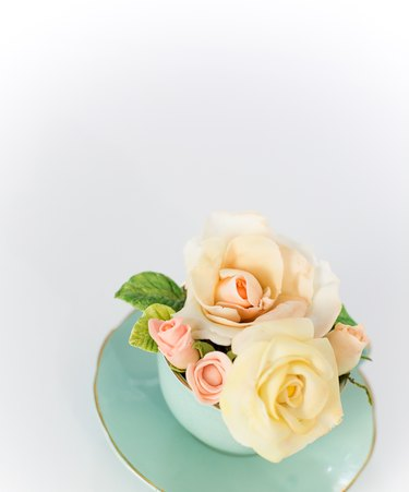 Roses made out cold porcelain