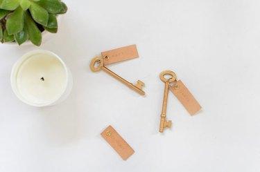 Leather key fob.