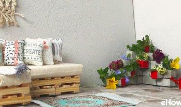 Concrete block planter on corner of patio