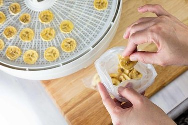 Hands placing banana slices on a food dehydrator rack.