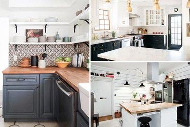 Three bright kitchens with tile backsplashes.
