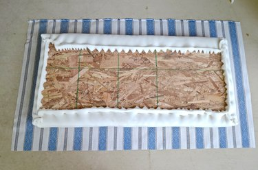 lay out fabric for upholstered seat