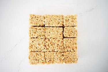 Sliced Rice Krispie Treats.