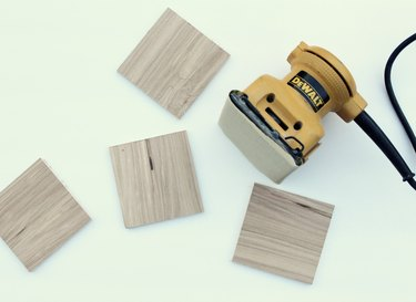 Lightly sand square boards