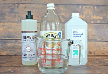 You need water, vinegar, isopropyl alcohol, dish soap and spray bottle.