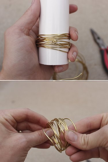 Removing wrapped wire from form and adjusting wire spacing.