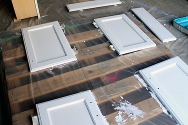 dry primer then apply 2nd coat | How to Paint Oak Bathroom Cabinets