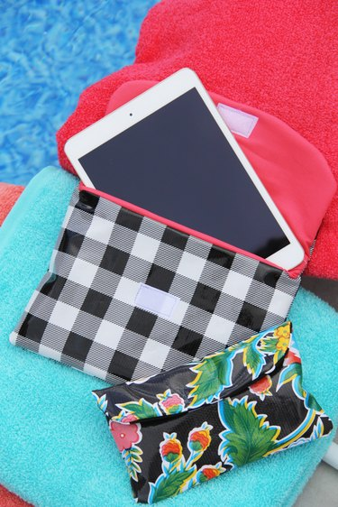 oilcloth iPad and iPhone cases by the pool