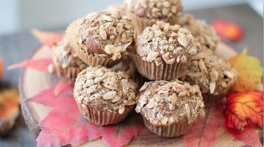 Close up view of baked muffins.