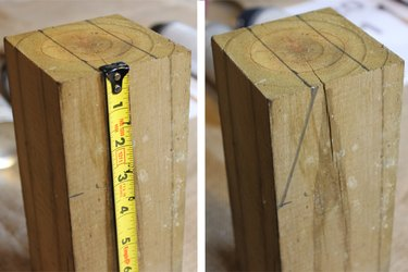 Connect the line on the width of the wood with the mark on the length of the wood