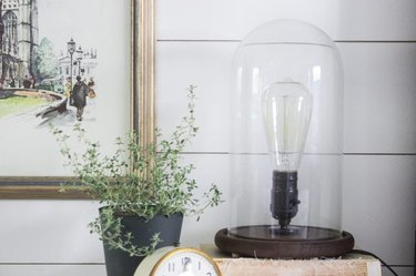Glass and wood lamp next to a potted plant and framed painting