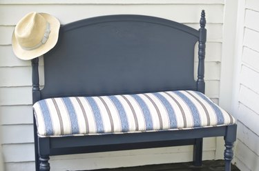 headboard transformed into upholstered bench