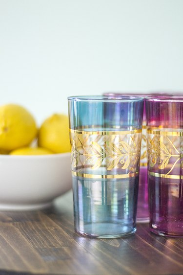 Style the top of your bar cart with pretty glasses.