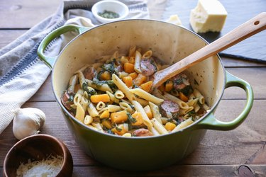 Finished pot of butternut squash and sausage pasta