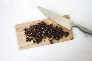 Roughly chopped chocolate coated espresso beans.