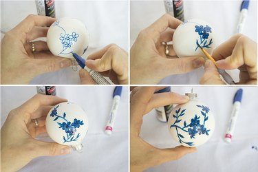 Repeating flower pattern on all sides of ornament