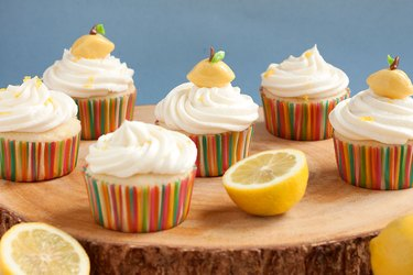 Lemonade cupcakes with lemon-shaped cupcake toppers