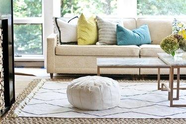 How to stencil a drop cloth rug.