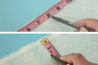 Mark the measurements on the fabric.