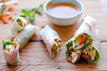 Apple Jicama Salad Rolls with Peanut Dipping Sauce