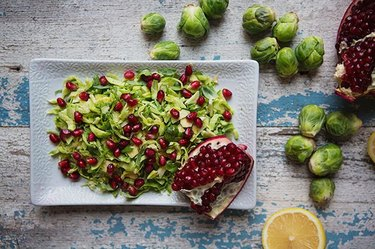 Make-Ahead Brussels Sprouts with Pomegranate and Lemon Dressing
