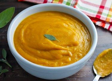 Butternut squash soup in a bowl.