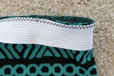 Zig zag stitch elastic to skirt