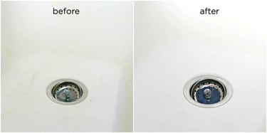 White porcelain sink, before and after